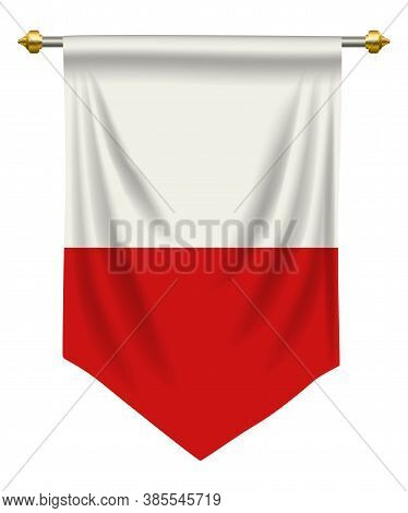 Poland Flag Or Pennant Isolated On White