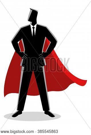 Business Concept Illustration Of A Businessman As A Superhero