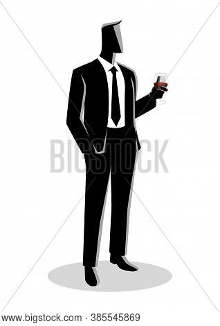 Business Illustration Of A Businessman In Formal Suit Standing With His Left Hand Holding A Glass Of