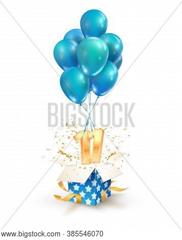 11th Years Celebrations. Greetings Of Eleven Birthday Isolated Vector Design Elements. Open Textured