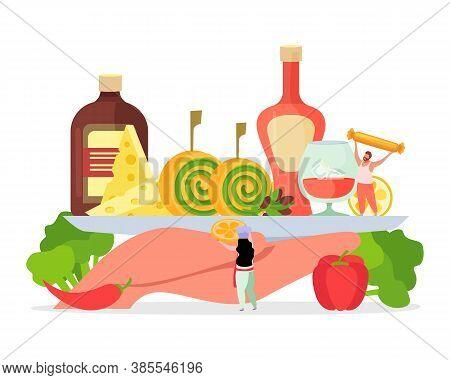 Vacation Holidays Cocktail Party Aperitif Weekend Brunch Flat Composition With Hand Holding Tray Alc