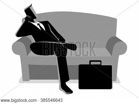 Business Illustration Of A Businessman Sitting On Sofa