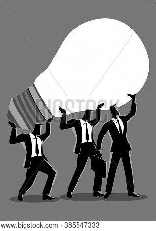 Business Concept Illustration Of Businessmen Lifting Up A Light Bulb Together