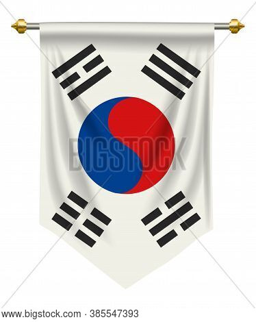 South Korea Or Pennant Isolated On White