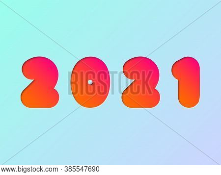 2021 Numbers In Modern 3d Red Paper Cutout Style With Super Mega Bold Colorful Font, Stock Vector Il
