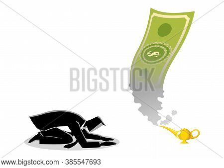 Business Concept Vector Illustration Of A Businessman Worshiping Money That Appearing From Magic Lam