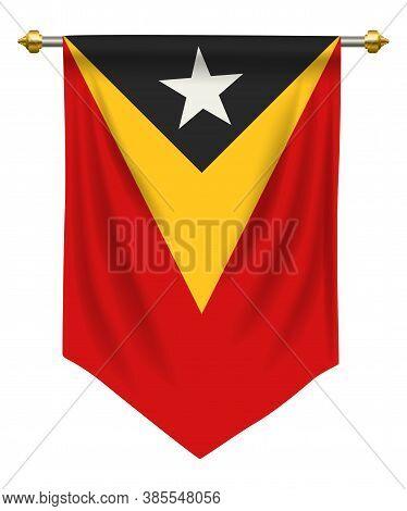 Timor Leste Flag Or Pennant Isolated On White