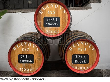 Funchal, Madeira, Portugal - April 23, 2018: The Museum - Storage Of Expensive Vintage Wine Madera.