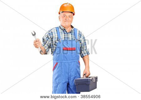 A manual worker holding a wrench and tool box isolated against white background
