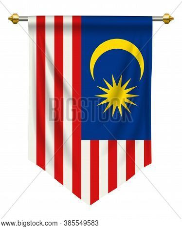 Malaysia Flag Or Pennant Isolated On White