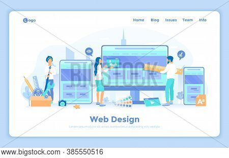 Web Design. Website Template For Monitor, Laptop, Tablet, Phone. A Team Of Web Designers Are Working