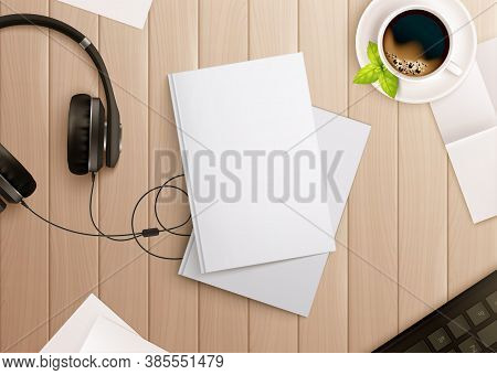 Books Mockup Composition With Realistic Images Of Copybooks Headphones And Coffee On Top Of Wooden T