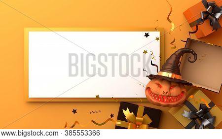 Happy Halloween Decoration Background With Gift Box, Confetti, Smiling Pumpkin Head Jack O Lantern W