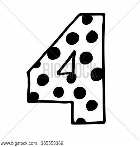 Cute Number 4. Hand Drown Vector Fourth With Polka Dot. Design For 4 Years Baby, Baby Party Decor, L