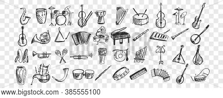 Musical Instruments Doodle Set. Collection Of Hand Drawn Sketches Templates Drawing Patterns Of Musi