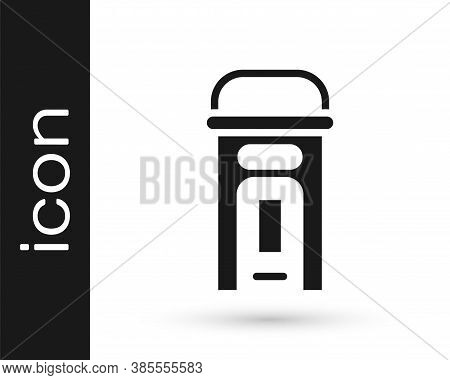 Black London Phone Booth Icon Isolated On White Background. Classic English Booth Phone In London. E