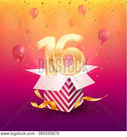 16 Th Years Anniversary Vector Design Element. Isolated Sixteen Years Jubilee With Gift Box, Balloon