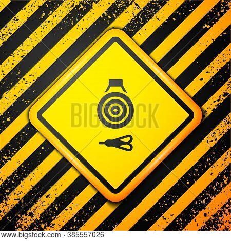 Black Classic Dart Board And Arrow Icon Isolated On Yellow Background. Dartboard Sign. Game Concept.