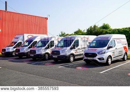 Bordeaux , Aquitaine / France - 09 01 2020 : Intermarche Location Sign Logo On Van Rental Trucks Cit