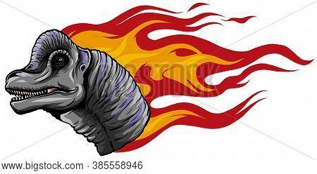 Dinosaurus Brachiosaurus Head Art Vector Illustration Design