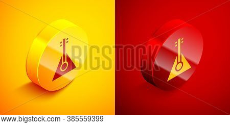 Isometric Musical Instrument Balalaika Icon Isolated On Orange And Red Background. Circle Button. Ve