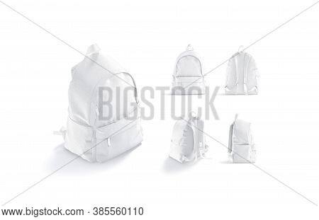 Blank White Backpack With Zipper And Strap Mockup, Different Views, 3d Rendering. Empty Luggage Pouc