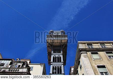 Santa Justa Lift - The Elevator In Lisbon City, Portugal