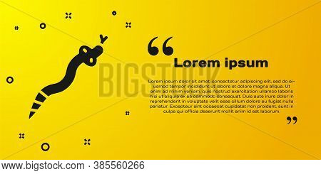 Black Snake Icon Isolated On Yellow Background. Vector