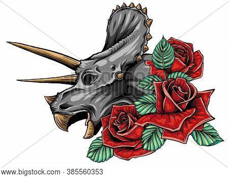 Dinosaurus Triceratops Head Art Vector Illustration Design
