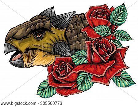 Dinosaurus Ankylosaurus Head Art Vector Illustration Design