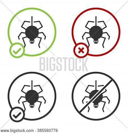 Black Spider Icon Isolated On White Background. Happy Halloween Party. Circle Button. Vector