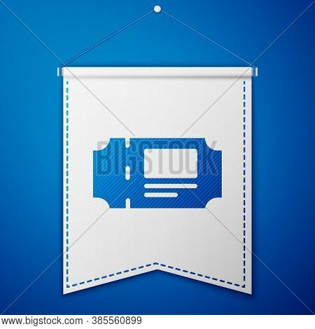 Blue Museum Ticket Icon Isolated On Blue Background. History Museum Ticket Coupon Event Admit Exhibi