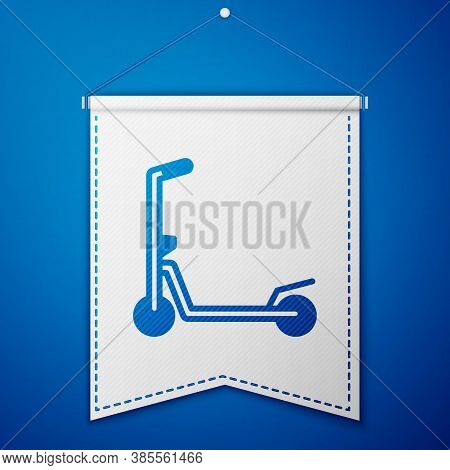 Blue Roller Scooter For Children Icon Isolated On Blue Background. Kick Scooter Or Balance Bike. Whi
