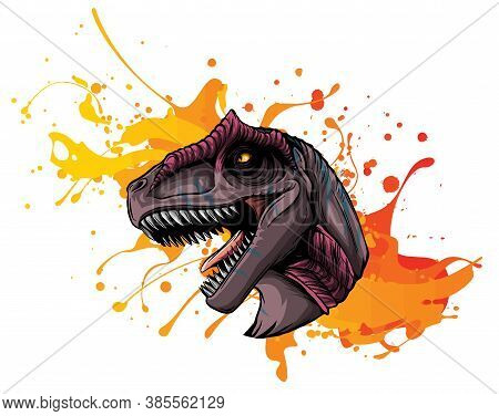 Vector Illustration Of A T Rex, Tyrannosaurus Rex Dinosaur Ripping Through A Wall