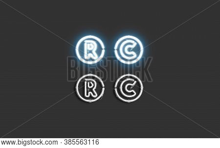 Neon Copyright And Registrated Symbol, Creative Font Mock Up, 3d Rendering. Lighting Fount With Regi