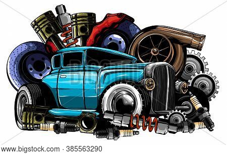Vintage Car Components Collection Witn Automobile Motor Engine Piston Steering Wheel Tire Headlights