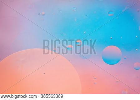 Oil Drops In Water. Defocused Abstract Psychedelic Pattern Image Pastel Colored. Abstract Background