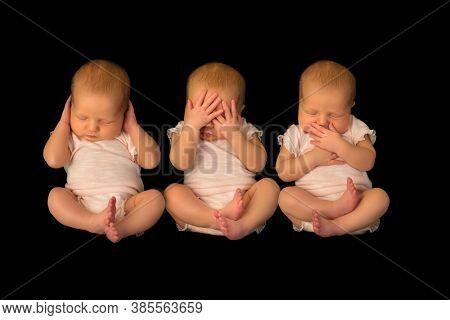 1 baby posing 3 times in the hear see speak no evil poses