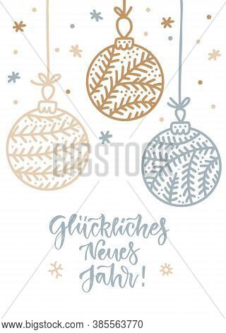 Vector Illustrations Of Gold, Silver Snowflakes And Balls, Baubles Card On White Background. Linear