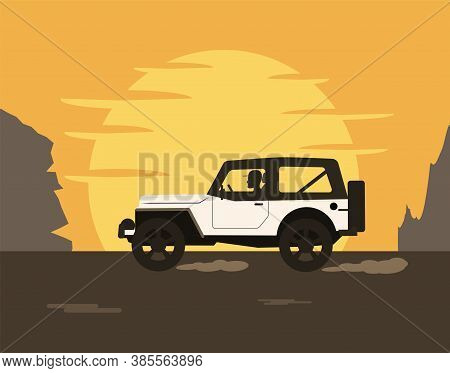 The Man Drives An Suv Car Against The Backdrop Of The Setting Sun And Mountains. Vector Illustration