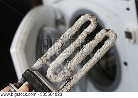 Electric Heater And Corrosive Water Heater Heating Elements With Scale And Sediment. Damaged Electri