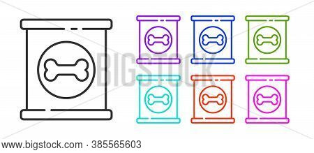 Black Line Canned Food Icon Isolated On White Background. Food For Animals. Pet Food Can. Dog Bone S