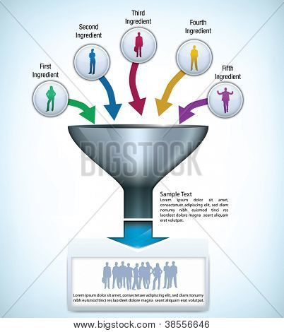 Funnel presentation template with space for different elements, and silhouettes of business people