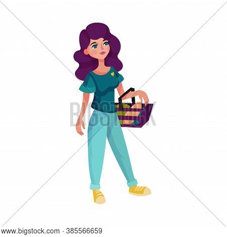 Young Woman Holding Basket With Foodstuff Vector Illustration