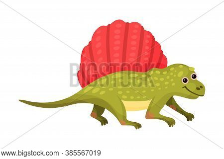 Cute Dinosaur As Ancient Reptile Isolated On White Background Vector Illustration