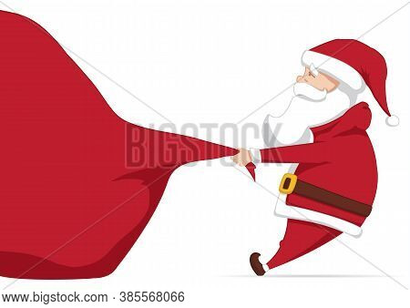 Vector Santa Claus Pulls A Heavy Bag Full Of Gifts. Cartoon Scene. Merry Christmas.