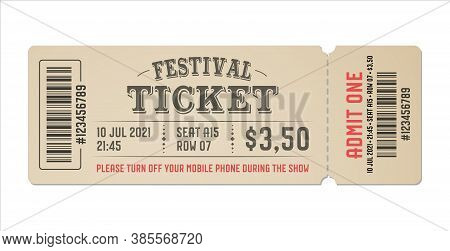 Festival Ticket Template Design. Retro Style Of Ticket For Entrance. Vector Vintage Ticket For Festi