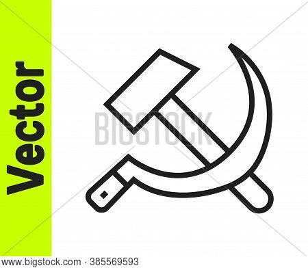 Black Line Hammer And Sickle Ussr Icon Isolated On White Background. Symbol Soviet Union. Vector