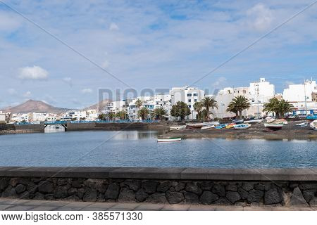 Lanzarote / Spain - March 20, 2016: Promenade In The Charco De San Gines On Lanzarote Island, Canary