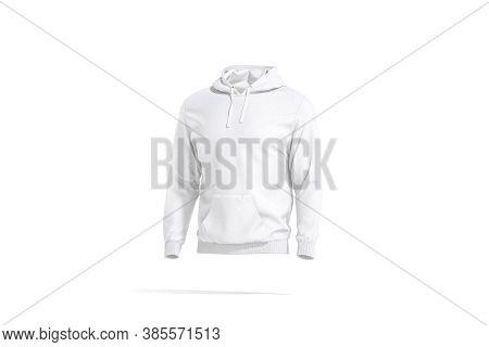 Blank White Sport Hoodie With Hood Mockup, Side View, 3d Rendering. Empty Fleece Tolstovka Or Loose